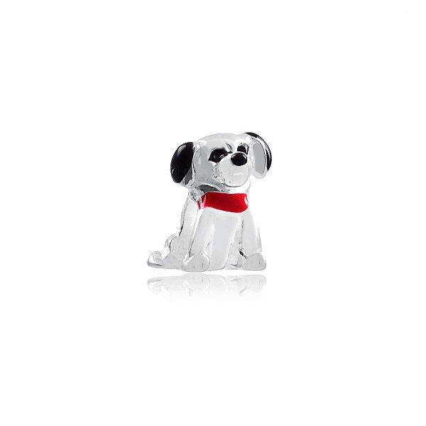 Berloque cachorro com detalhes preto e coleira vermelha prata 925