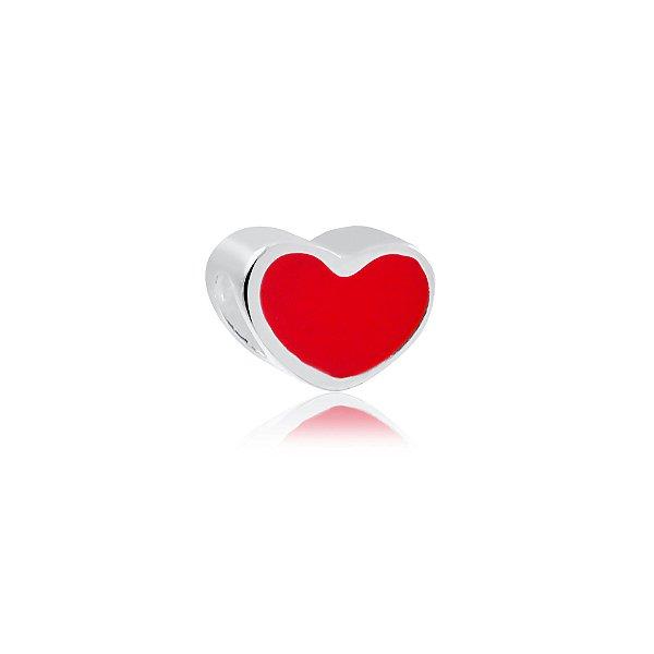 Berloque de coração vermelho prata 925