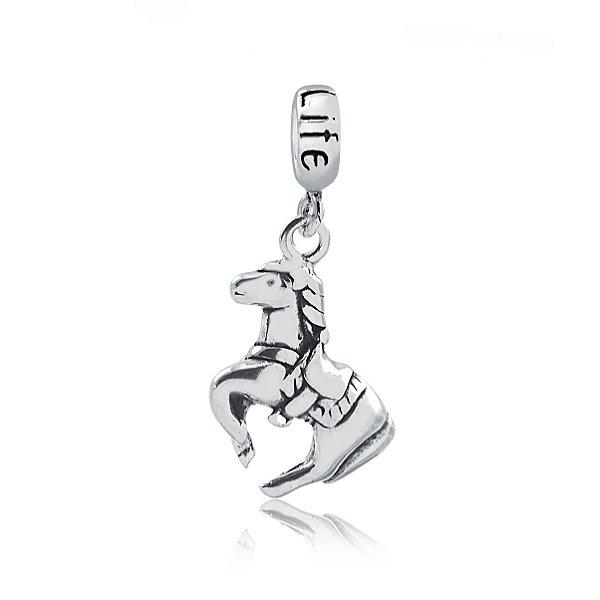 Berloque de cavalo com detalhes  prata 925