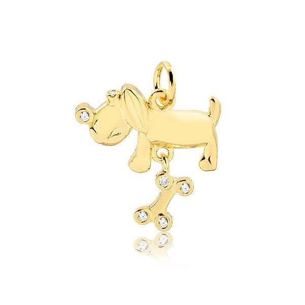Pingente de cachorro com osso móvel folheado em ouro 18
