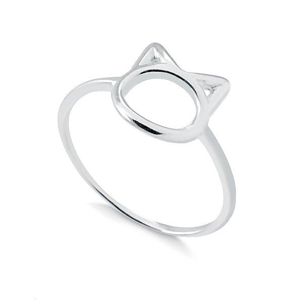 Anel cara de gato com aro liso em prata 925