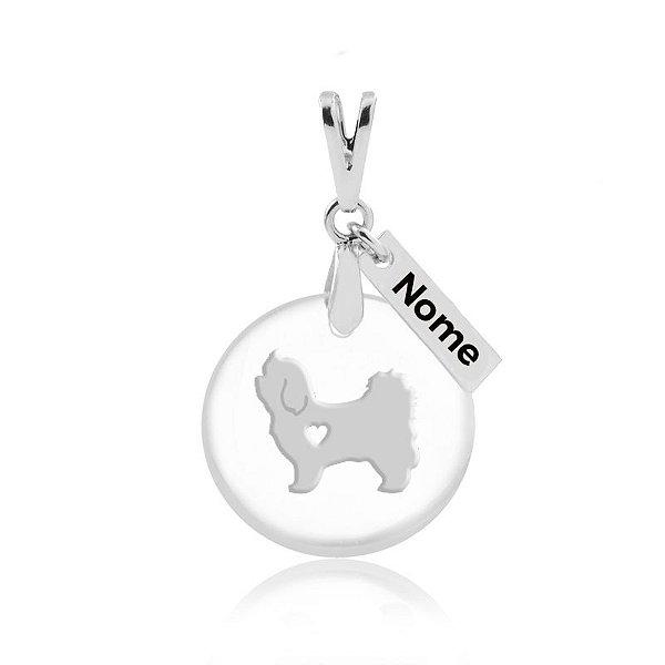 Pingente em acrílico nome personalizado (qualquer animal padrão de raça, espécie e nome)em prata 925