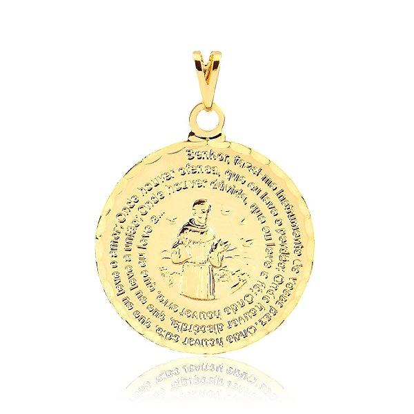 Pingente medalha de São Francisco com oração folheado em ouro 18