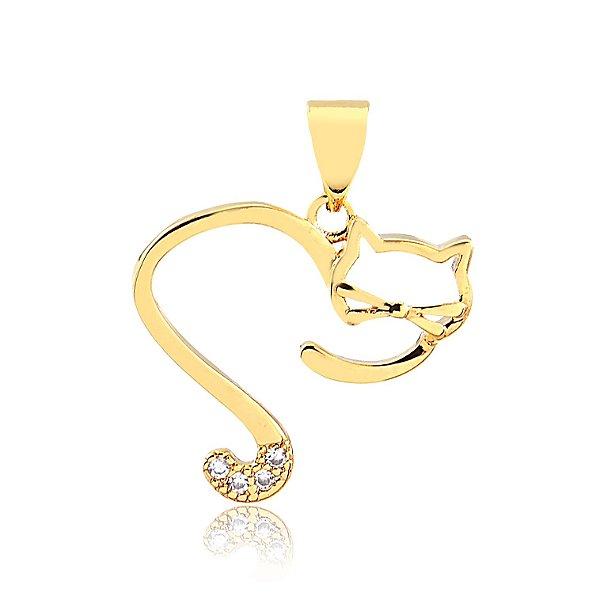Pingente coração aberto de gato folheado em ouro 18k