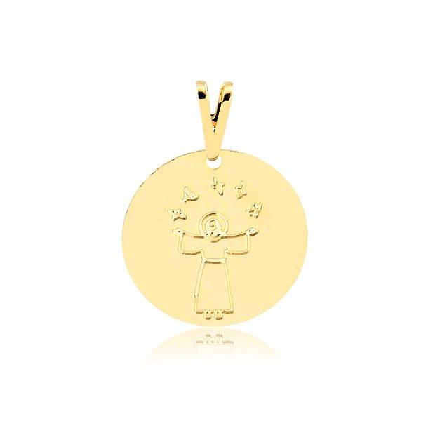 Pingente medalha de São Francisco de Assis com pombas folheado em ouro 18k