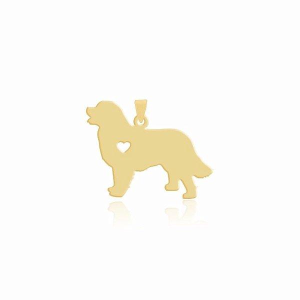 Pingente da raça Bernese folheado em ouro 18k