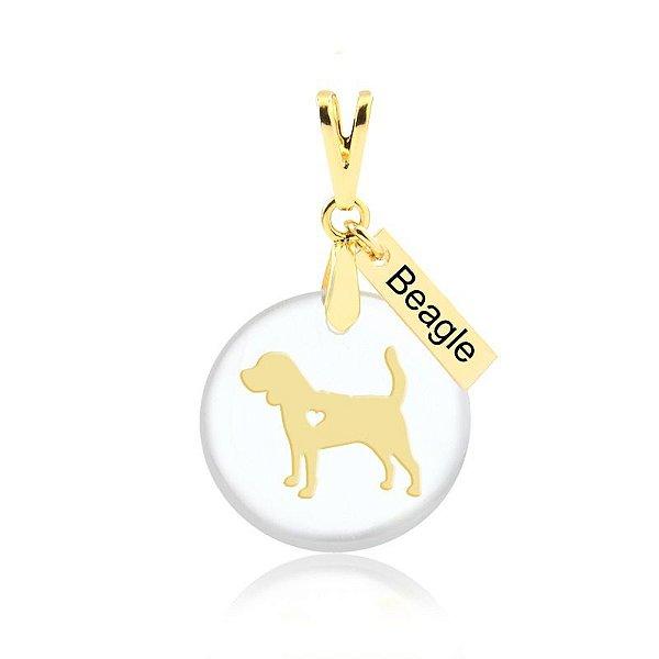 Pingente acrílico raça Beagle folheado em ouro 18k