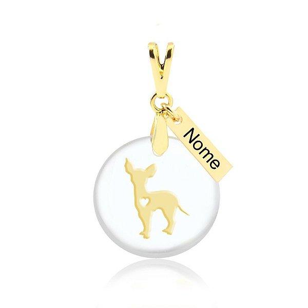 Pingente acrílico raça Chihuahua com nome personalizado folheado em ouro 18k