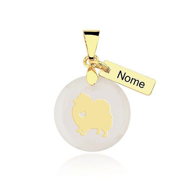 Pingente madrepérola raça Lulu da Pomerânia nome personalizado folheado em ouro 18k