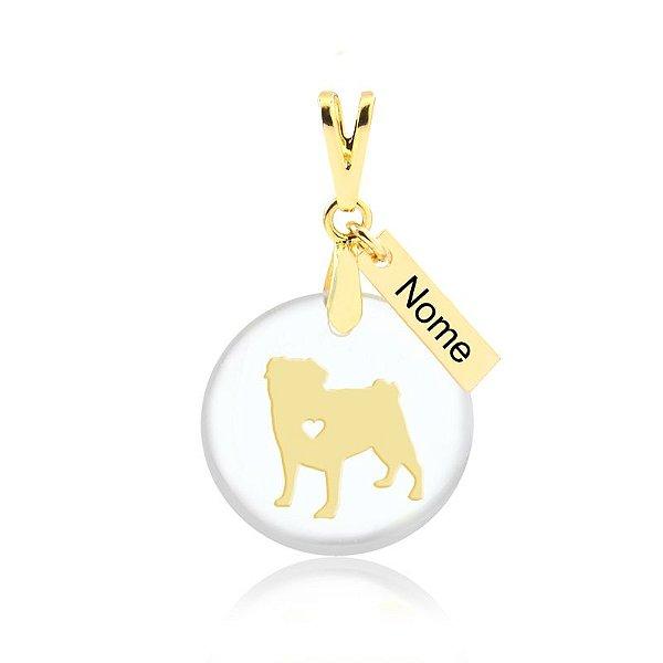 Pingente acrílico raça Pug com nome personalizado folheado em ouro 18k