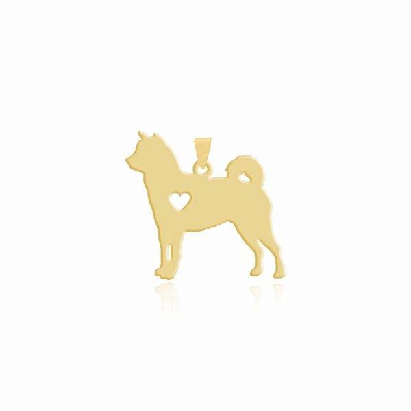 Pingente raça Shiba Inu  liso folheado em ouro 18k