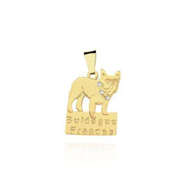 Pingente Bulldog Francês com coleira em zircônia folheado em ouro 18k