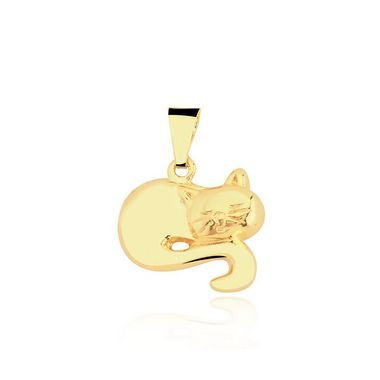 Pingente Gato liso dormindo folheado em ouro 18k