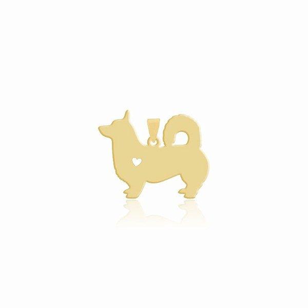 Pingente raça Corgi liso folheado em ouro 18k