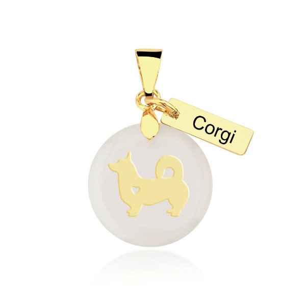 Pingente madrepérola raça Corgi folheado em ouro 18k