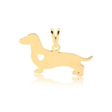 Pingente Dachshund (Salsicha) de perfil folheado em ouro 18k