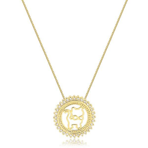 Colar mandala gato com zircônias folheado em ouro 18k