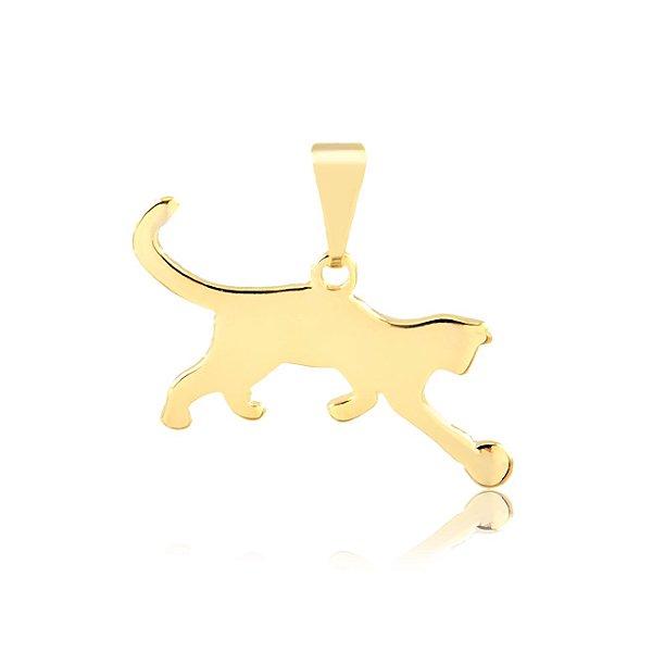 Pingente gato brincando com bola folheado em ouro 18k