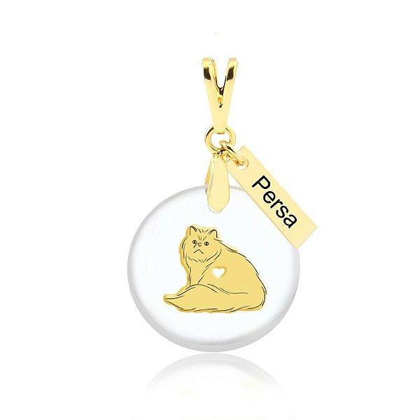Pingente acrílico raça de gato Persa folheado em ouro 18k