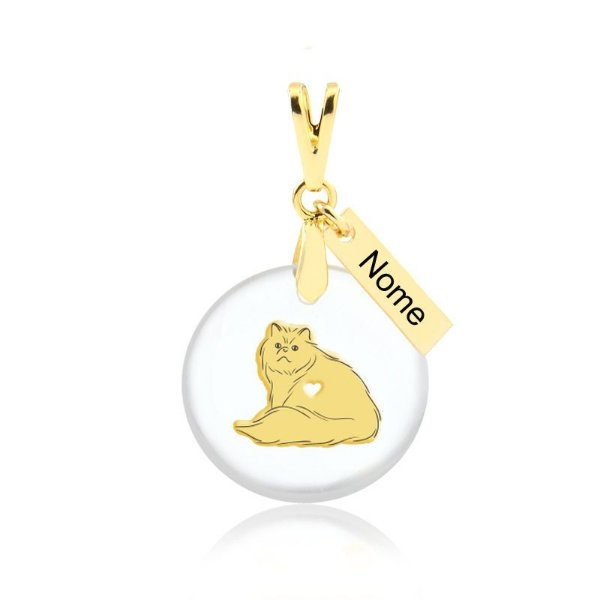 Pingente acrílico raça de gato Persa nome personalizado folheado em ouro 18k