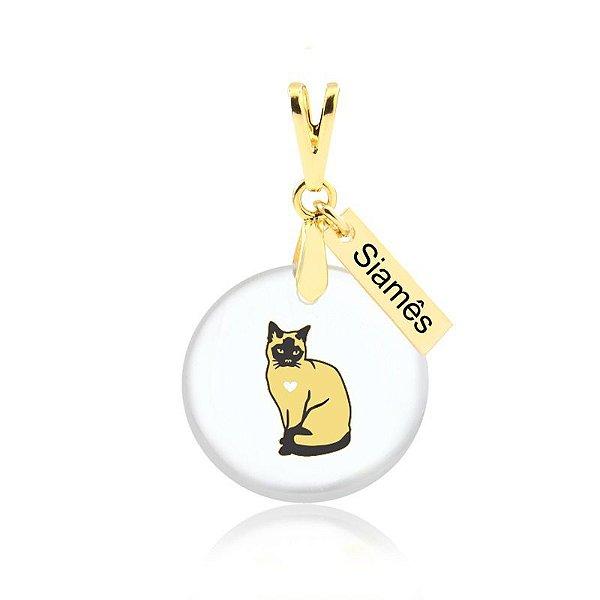 Pingente acrílico raça gato Siamês folheado em ouro 18k