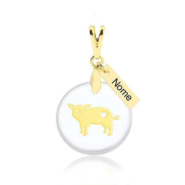 Pingente acrílico raça Pig Mom nome personalizado folheado em ouro 18k