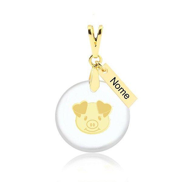 Pingente acrílico Pig Mom nome personalizado folheado em ouro 18k