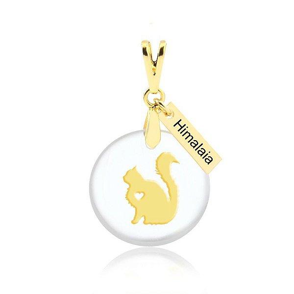 Pingente acrílico gato Himalaia folheado em ouro 18k