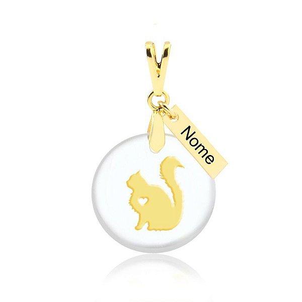 Pingente acrílico gato Himalaia nome personalizado folheado em ouro 18k