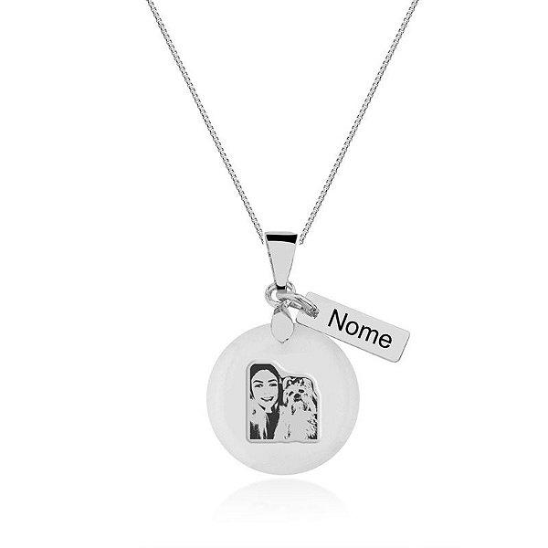 Colar com pingente madrepérola com foto e nome personalizado prata 925