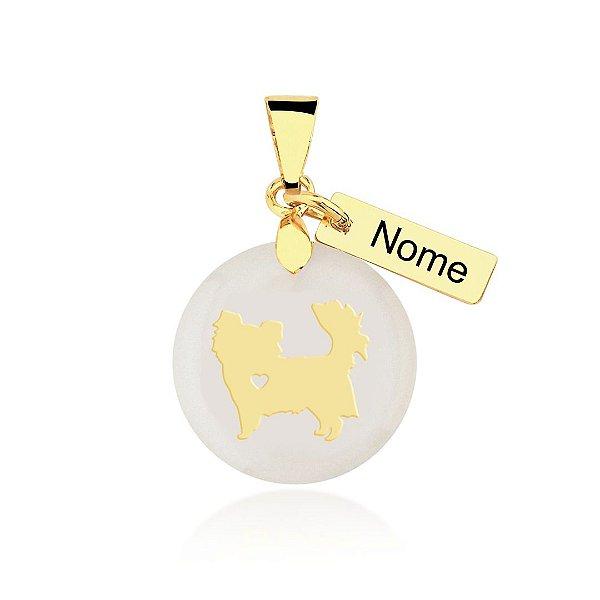 Pingente madrepérola raça Chihuahua pelo longo nome personalizado folheado em ouro 18k