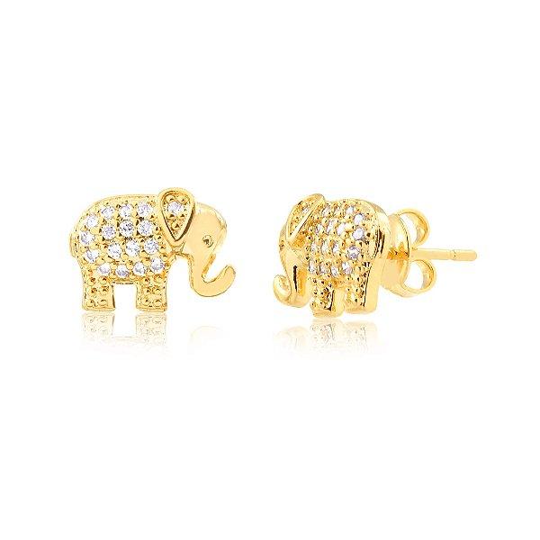 Brinco de elefante com zircônias folheado em ouro 18k