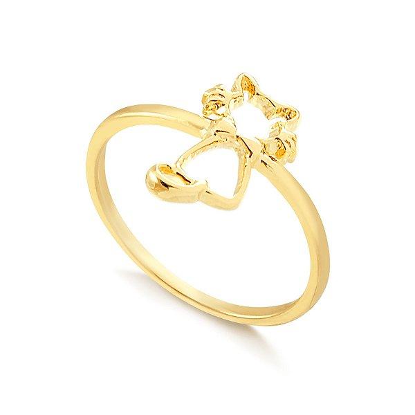 Anel falange gatinho folheado em ouro 18k