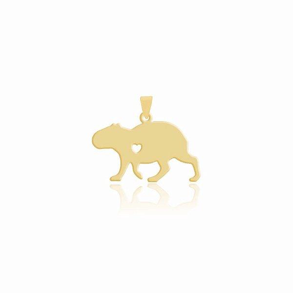 Pingente de Capivara folheado em ouro 18K