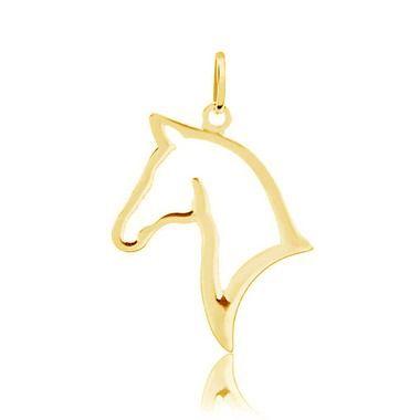 Pingente rosto cavalo vazado folheado em ouro 18k