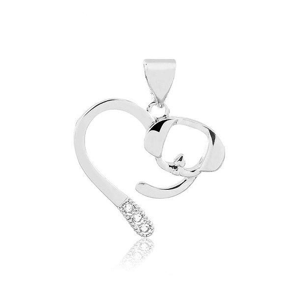 Pingente cachorro em coração aberto em prata 925