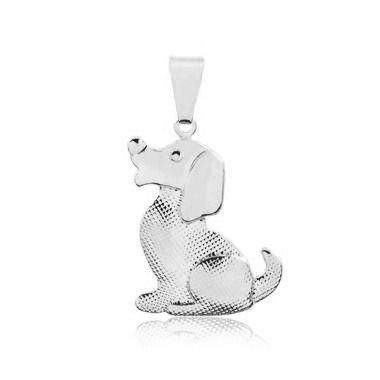 Pingente de cachorro texturizado em prata 925