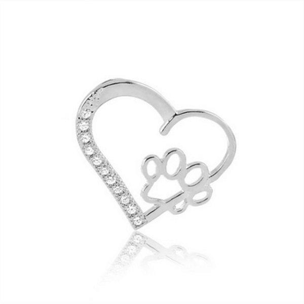 Pingente de coração com pata e zircônias em prata 925