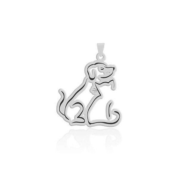 Pingente de cachorro e gato corpinho em prata 925