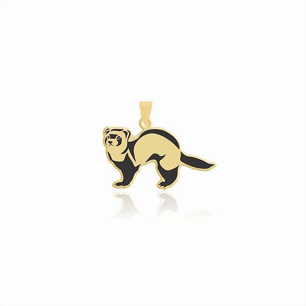 Pingente Furão liso folheado em ouro 18k