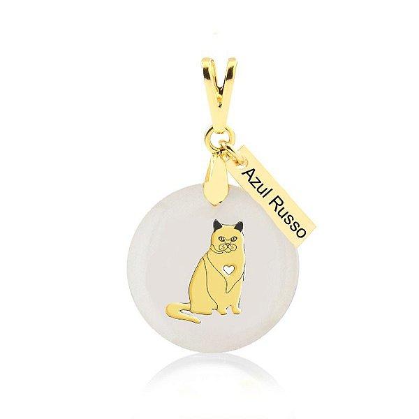 Pingente madrepérola de gato raça Azul Russo folheado em ouro 18K