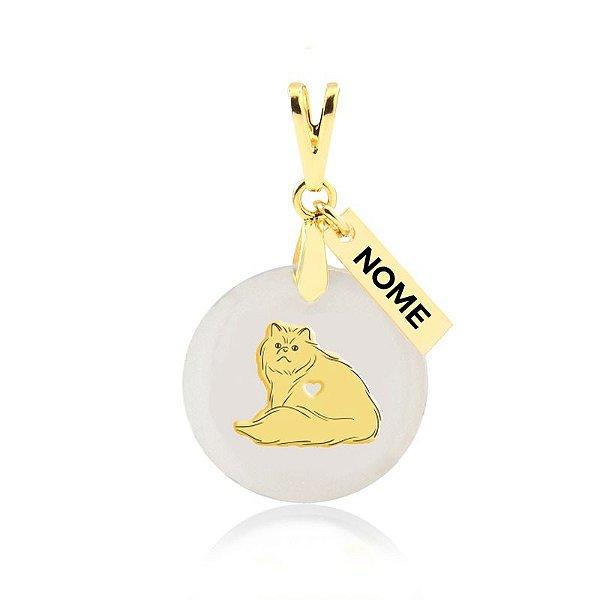 Pingente madrepérola raça de gato Persa personalizado folheado em ouro 18k