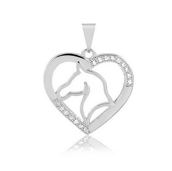 Pingente de coração com Cavalo em prata 925