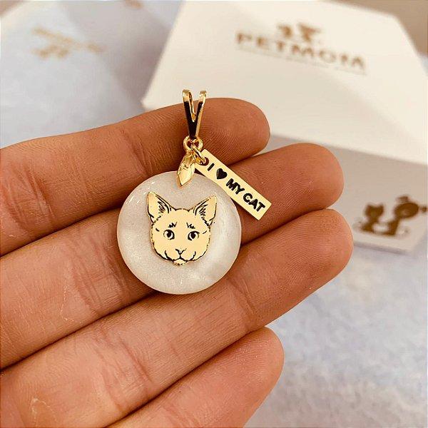 Pingente madrepérola de Gato folheado em ouro 18K