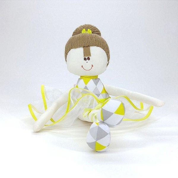 Bailarina Média Chevron Cinza E Amarelo