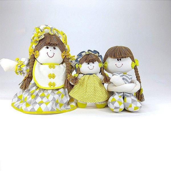 Kit 03 Peças: Bonecas Camponesas E Sula Chevron Cinza E Amarelo