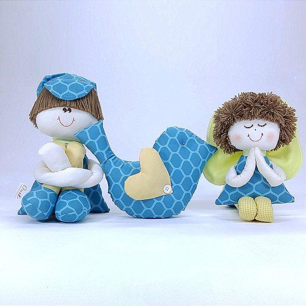 Kit 03 Peças: Menino Sulo + Almofada Passarinho + Anjinho Coleção Tiffany Azul Turquesa