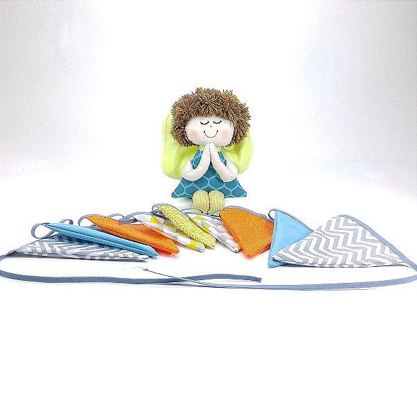 Kit 02 Peças: Bandeirinha E Anjinho Coleção Azul Tiffany Turquesa
