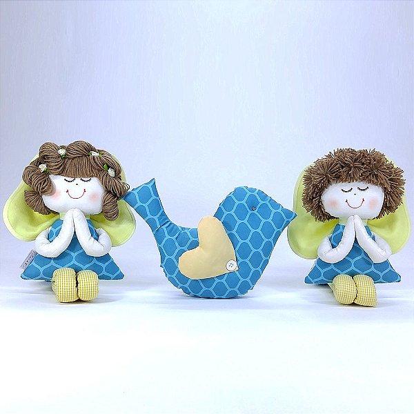 Kit 03 Peças: Anjinho + Anjinha + Almofada De Passarinho Coleção Azul Tiffany Turquesa