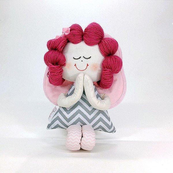 Boneca de Pano Anjinha Coleção Chevron Cinza e Rosa
